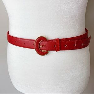 Half Moon Buckle Red Leather Belt Size M/L